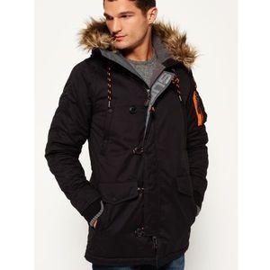 SUPERDRY Mens Microfibre Parka Coat in Black Size M